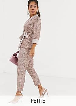 Little Mistress tailored sequin trouser in rose gold co ord