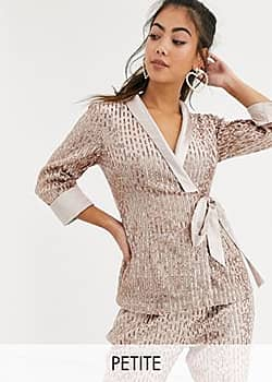 Little Mistress tailored sequin wrap blazer in rose gold co ord