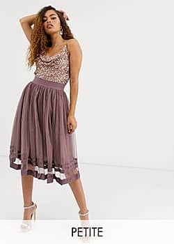 Little Mistress tulle midi skirt-Pink