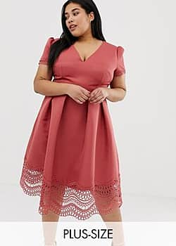 plunge front full prom midi dress with lace hem in terracotta-Red