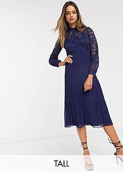 lace shirt skater dress in navy