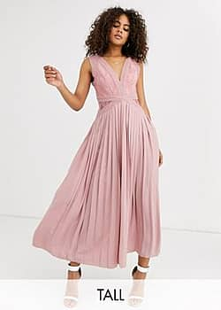 lace top midi skater dress with pleated skirt in pink