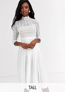 midi length 3/4 sleeve lace dress in white
