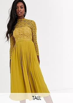 midi length long sleeve lace dress in mustard-Yellow