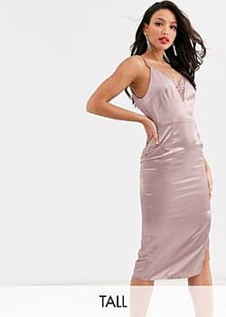 satin cami dress with lace insert in taupe-Pink
