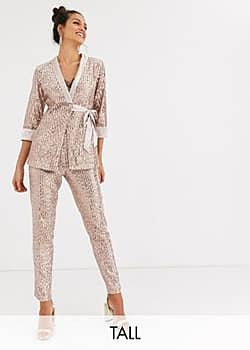 tailored sequin trouser in rose gold co ord
