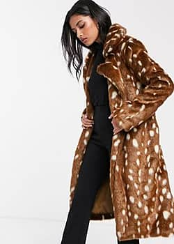 belted faux fur coat in spot-Brown
