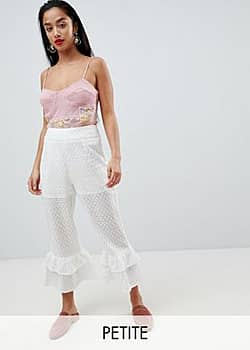 Lost Ink Broderie Trousers With Tiered Peplum Hem-White