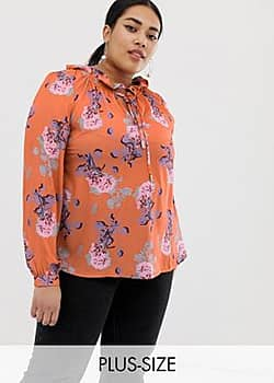 blouse with tie neck in bright floral-Multi