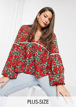 long sleeve smock top with contrast binding in rose floral-Red