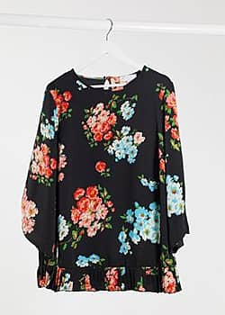 Lovedrobe Floral Open Sleeve Blouse With Pleated Hem-Black