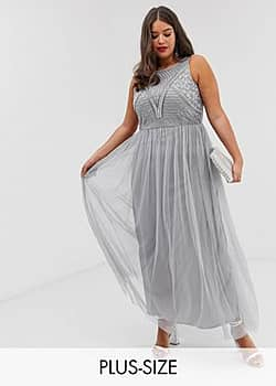 Lovedrobe all over embellished maxi dress-Silver