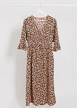 Maison Scotch animal print ruffled midi dress-Multi