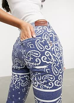 Maison Scotch bandana print straight leg jeans-Blue