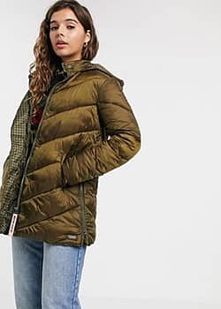 longline padded jacket with hood-Green
