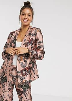 ornate snake printed blazer co-ord-Pink