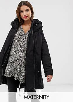 Mama.licious Mamalicious 2-in-1 padded coat with zip out panel-Black