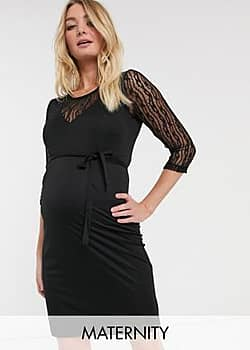 Mamalicious Maternity bodycon dress with lace insert in black