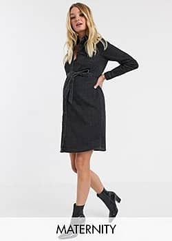 Mamalicious Maternity denim shirt dress with belted waist in washed black