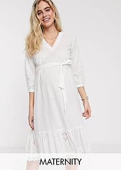 Mama.licious Mamalicious Maternity jersey smock dress with tiered hem in white