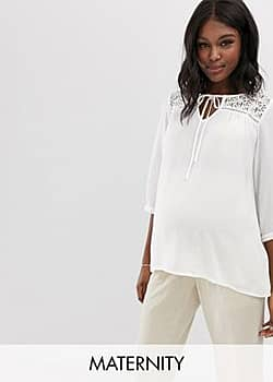 Mamalicious maternity lace detail textured top-White