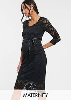 Mamalicious Maternity lace midi dress with waist detail in black