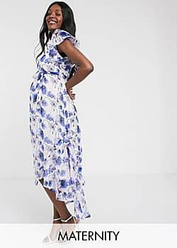 Mama.licious Mamalicious Maternity maxi dress with hi-low hem and ruffle detail in floral-Multi