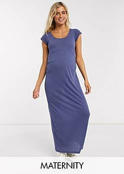 Mama.licious Mamalicious Maternity maxi t-shirt dress with ruched waist in blue