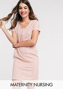 Mama.licious Mamalicious Maternity nightgown with nursing function in pink gingham-White