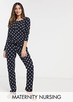 Mama.licious Mamalicious maternity nursing pyjama set in polka dot-Multi