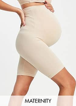 Mamalicious Maternity over the bump shapewear shorts in nude-Beige