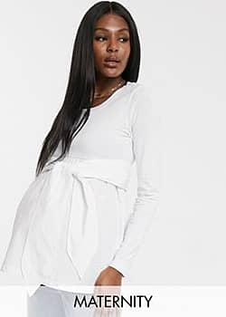 Mama.licious Mamalicious Maternity ribbed top with tie waist in white