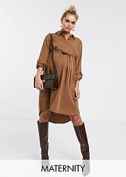 Mama.licious Mamalicious Maternity shirt dress in camel-Beige