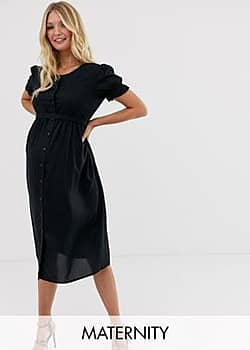 Mama.licious Mamalicious maternity short sleeve mIdi dress-Black