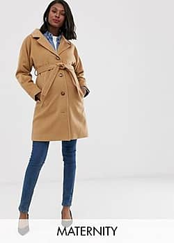 Mama.licious Mamalicious Maternity tailored coat with belted waist in camel-Beige