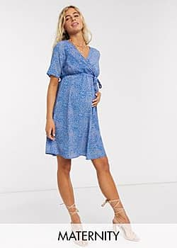 Mama.licious Mamalicious Maternity wrap mini dress in blue abstract floral print