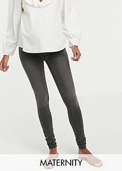 Mama.licious Mamalicious skinny jeans with stretch comfort panel - 34 inch length-Grey