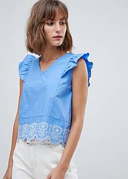 broderie anglaise blouse with ruffle shoulder-Blue