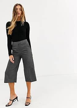 Mango cropped tailored trouser in grey