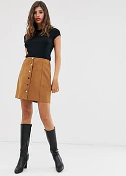 Mango faux suede button front mini in brown-Black