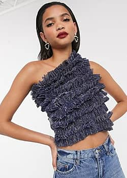 one shoulder ruffle blouse in blue
