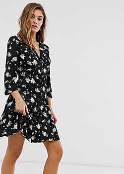 Mango printed dress with 3/4 sleeves-Multi