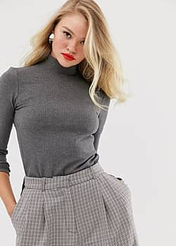 ribbed roll neck long sleeved top in grey