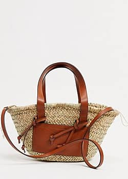 Mango straw bag with front panel in tan