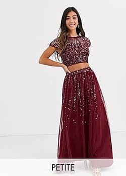 Bridesmaid delicate sequin top co ord in wine-Red