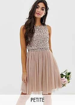 Bridesmaid sleeveless mini tulle dress with tonal delicate sequin overlay in taupe blush-Brown