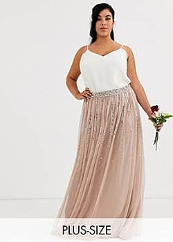 Maya Bridesmaid delicate sequin tulle skirt in taupe blush-Brown