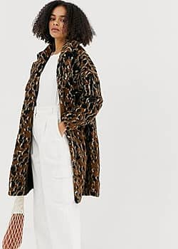 leopard print faux fur coat-Multi