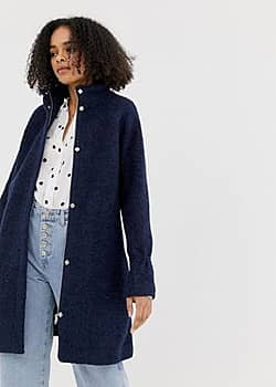 wool swing coat-Navy