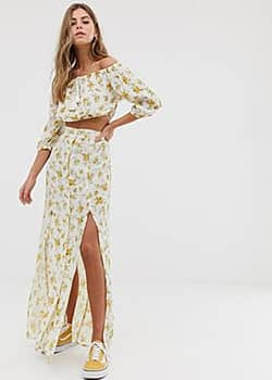 Miss Selfridge maxi skirt with side split in ditsy floral-White